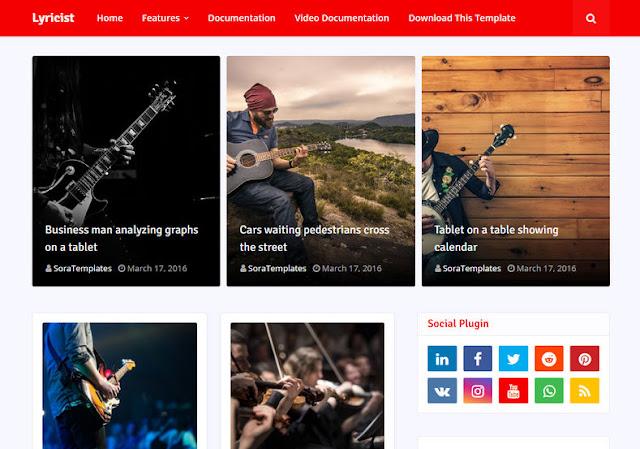 Lyricist Blogger Template adalah Lagu & Musik Blogger Theme yang kuat dan responsif dengan fitur yang cukup canggih seperti lagu layar atau lirik musik, sehingga pengguna atau pengunjung dapat menyalin paste lirik