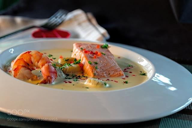 حساء السمك بالكراث