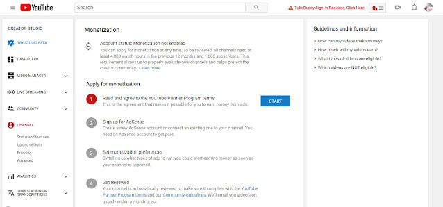 Youtube Apply for Monetization - Step 1