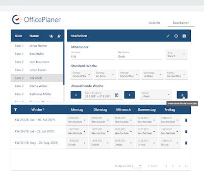 Bearbeitungsmodus im OfficePlaner