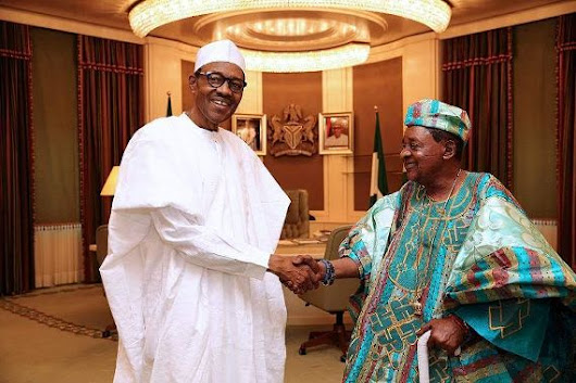 Photos: President Buhari receives Alaafin of Oyo at the Statehouse abuja