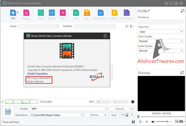 Xilisoft Video Converter Ultimate is an application that can encode several video formats to others. It supports 3GP, ASF, AVI, SWF, MKV and MOV.