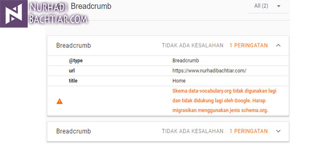 Cara Mengatasi dan Memperbaiki Skema data-vocabulary.org Breadcrumb Error di Blogger