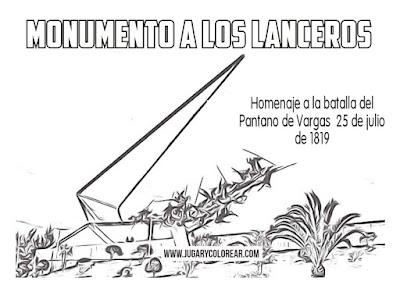 Colorear monumento a los lanceros del Pantano de Vargas
