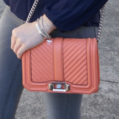 Rebecca Minkoff chevron quilted small Love crossbody bag in pale coral | awayfromtheblue