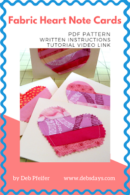 Scrap Fabric Heart Note Cards