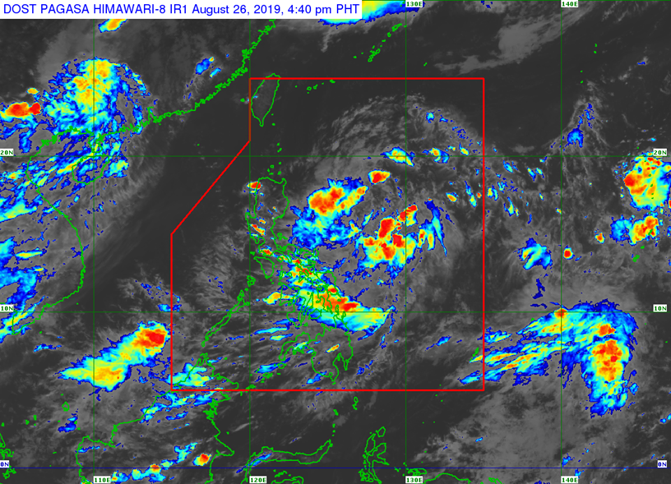 Satellite image of Tropical Depression 'Jenny' as of 4:40 pm on Monday, August 26
