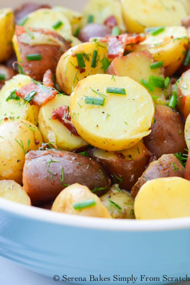 Warm Potato Salad With Tangy Bacon Herb Vinaigrette- perfect for summertime potlucks and barbecues. serenabakessimplyfromscratch.com