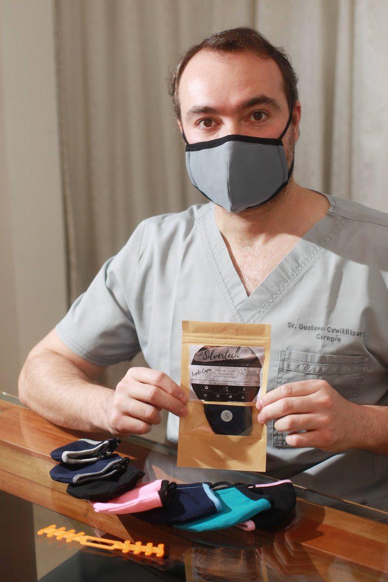 Cirujano digestivo creó una poderosa mascarilla con iones de plata altamente destructores