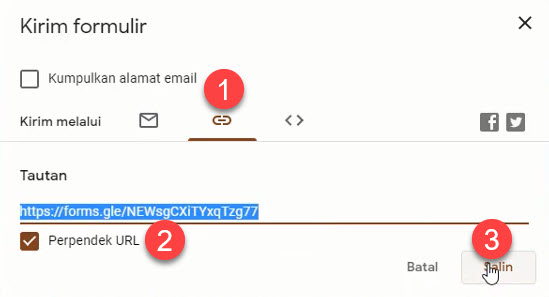 Share link soal pilihan ganda dan essay Google Form