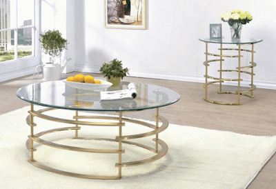 Loretta Gold Finish Coffee Table Sofa Furniture