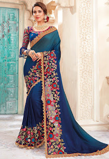 Indian Party Wear Satin Georgette Saree in Shaded Teal Blue and Navy Blue