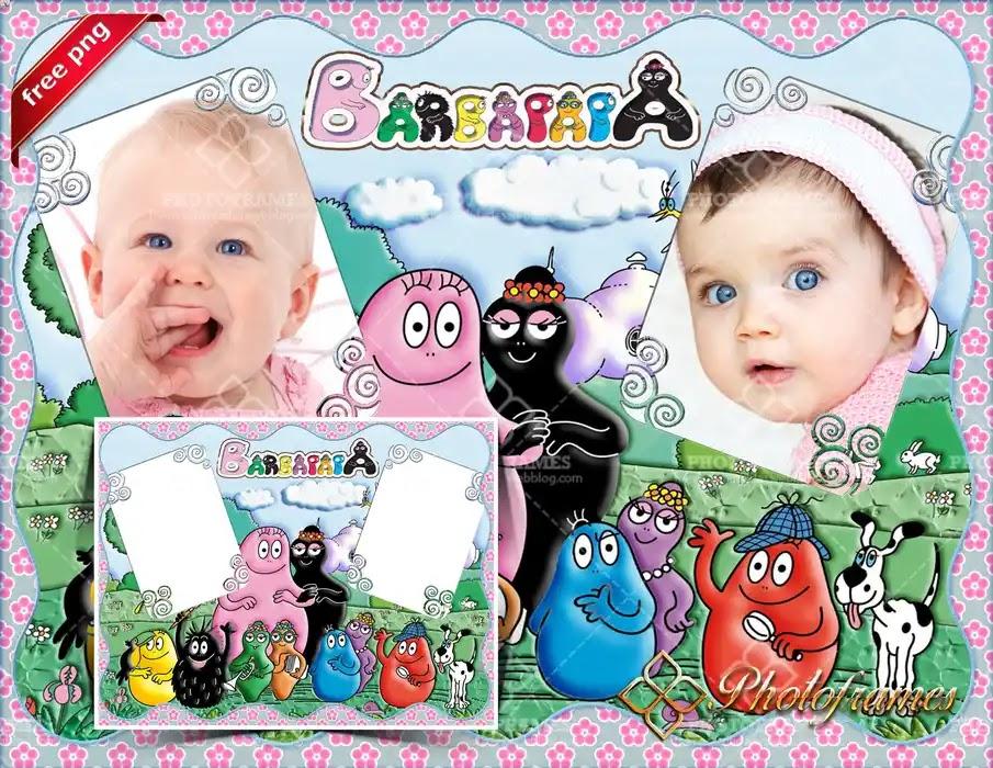 Marco para 2 fotos infantiles inspirado en la serie Barbapapá