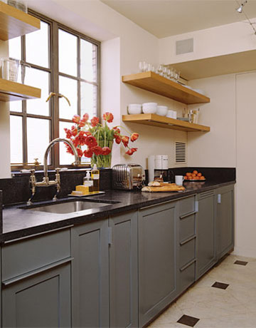 Galley Kitchen in Belgian style Manhattan apartment of Ina Garten