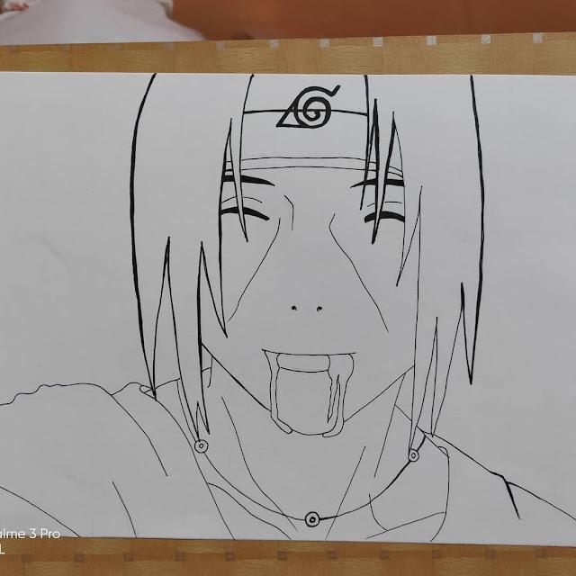 Penebalan sketsa menggunakan pulpen dan Penghapusan Grid