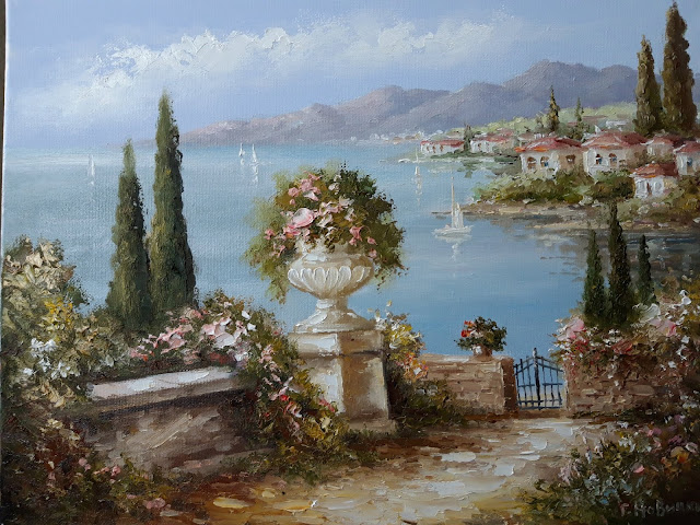 Картина 30х40см. Цветы в вазе на фоне залива