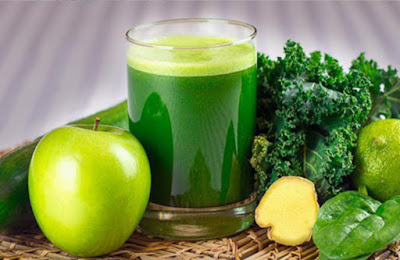 green fruits and vegetables juice