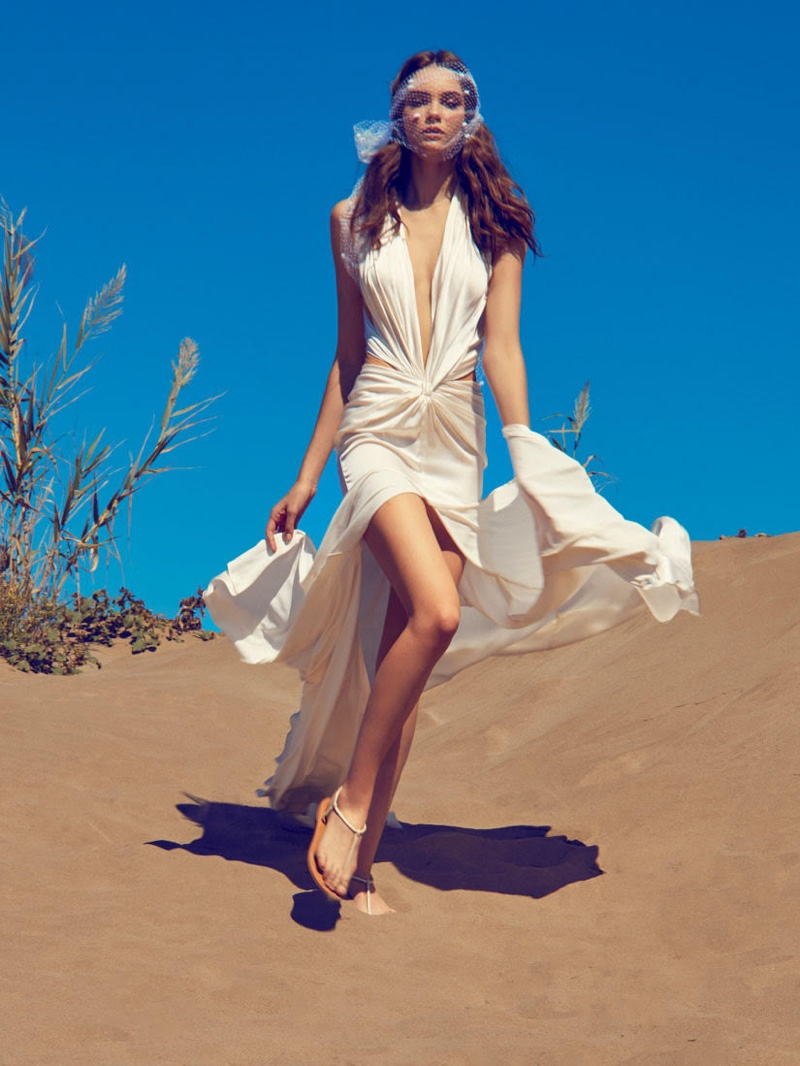 Diana Herasymuk poses in Ramon Herrerias Bridal 2020 Collection