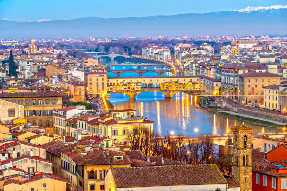Sunset view of Ponte Vecchio, Florence, Italy