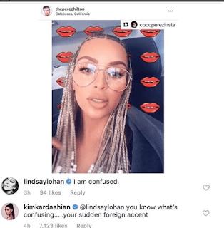 Kim Kardashian drags Lindsay Lohan for shading her braids