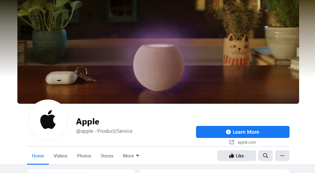 Facebook - Apply Rivalry Apple's Facebook Page Blue Tick Removed