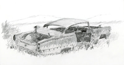 pencil sketch graphite classic car junkyard wrecking yard