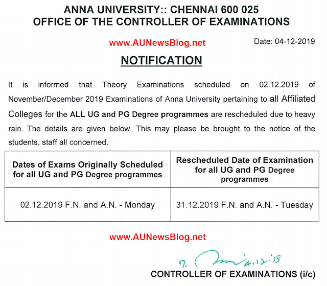 Anna University New Rescheduled date for Nov Dec 2019 exams