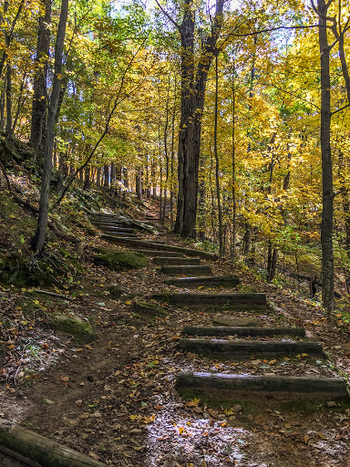 Hiking on the Old Settler's Trail at Wildcat Mountain State Park