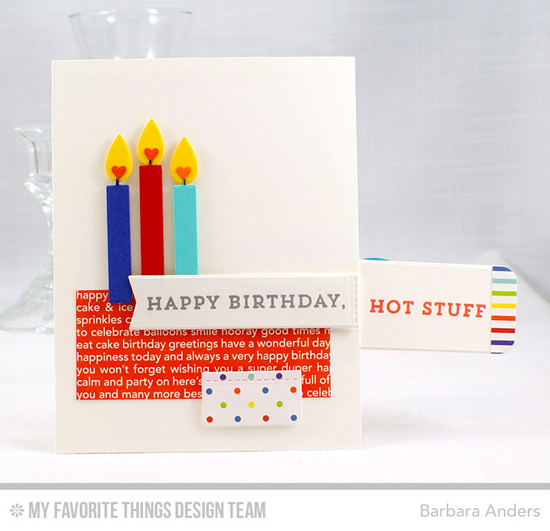 Handmade card from Barbara Anders featuring Make a Wish stamp set, Birthday Candles, Slider Channel Builder, Blueprints 25, and Blueprints 27 Die-namics #mftstamps