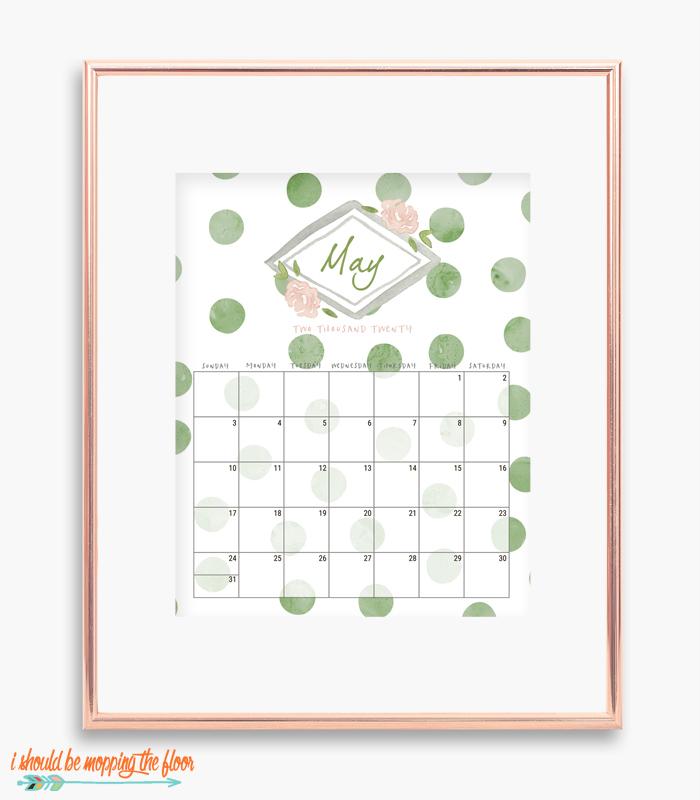 Printable Polka Dot Calendar