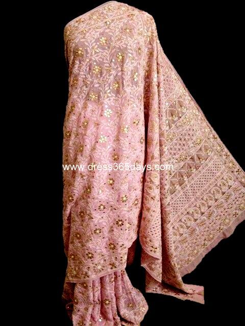 Pink Saree with Gotapatti Chikan work