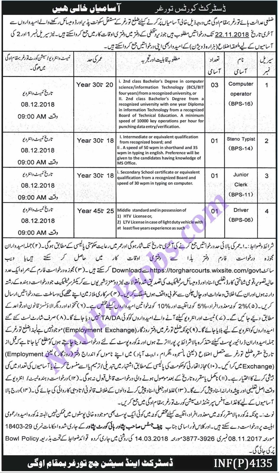 Govt Jobs in District Courts Torghar November 2018 - Interview Date