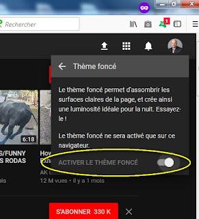 Comment changer le fond blanc de Youtube en fond noir ?