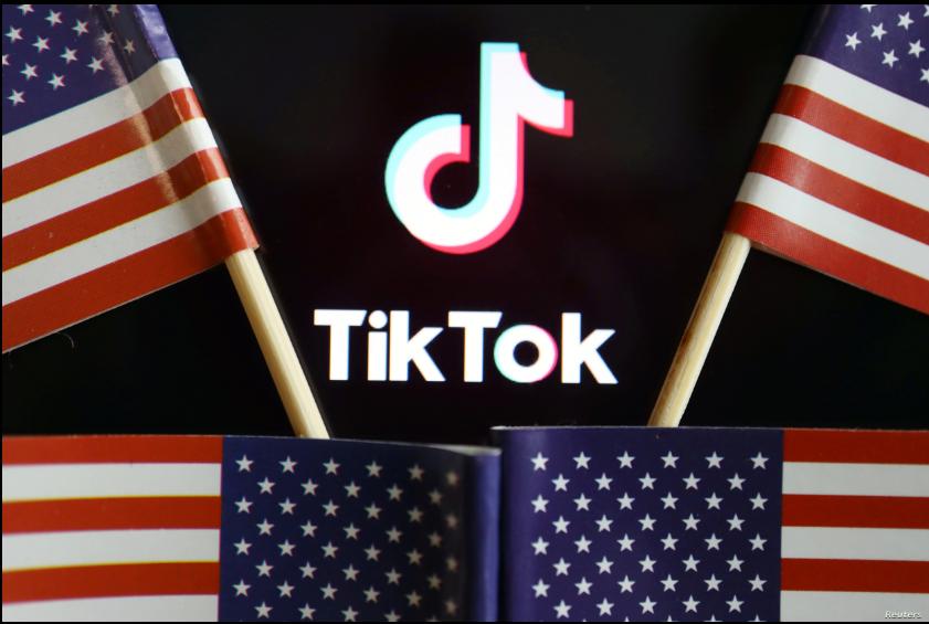 Ilustración del logo de TikTok rodeado de banderas de Estados Unidos / REUTERS