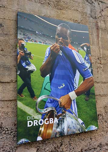 Didier Drogba poster at Stamford Bridge.