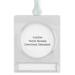 Custom Silver Plated Banner Photo Christmas Ornament
