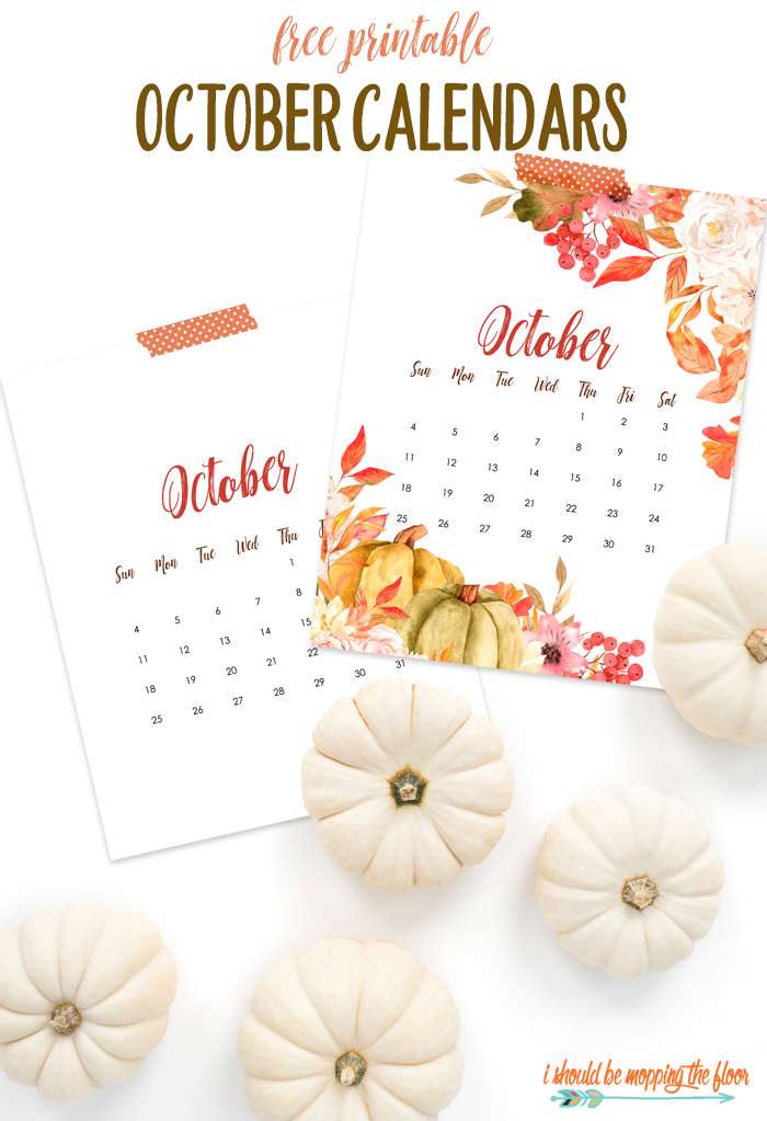 Free October Calendar Printable in Two Design Options
