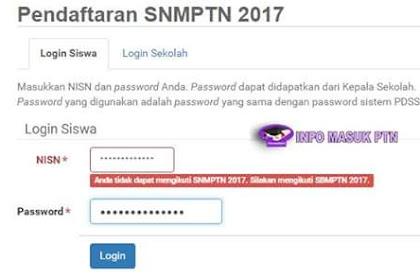 """Penyebab Muncul Pesan """"Anda Tidak Dapat Mengikuti SNMPTN 2017"""""""