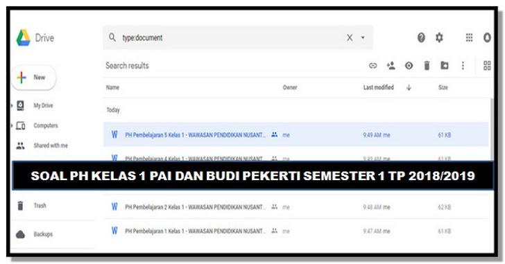 Soal PH Kelas 1 PAI dan Budi Pekerti Semester 1