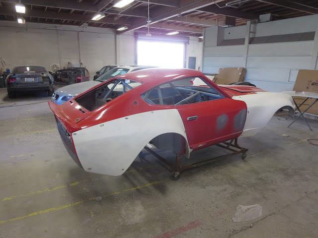 Larry Oka 1972 Datsun 240Z Race Car Shell undergoing body repairs.