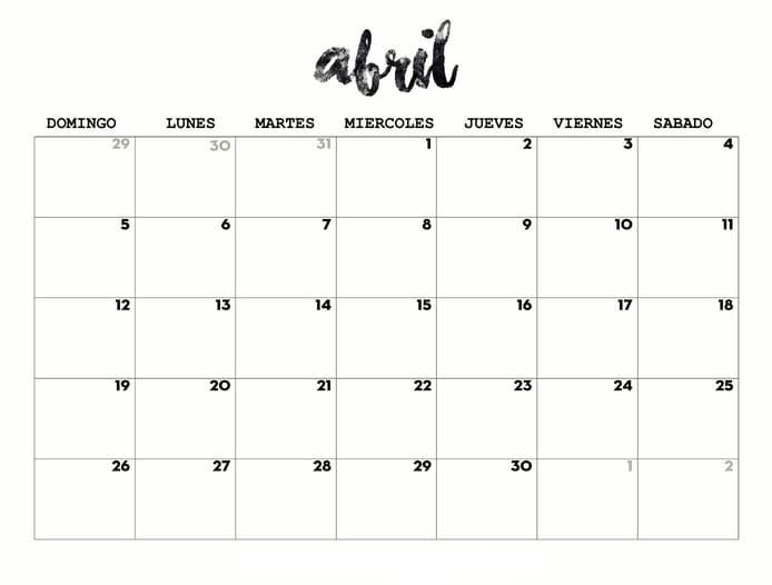 calendario 2020 de abril para imprimir