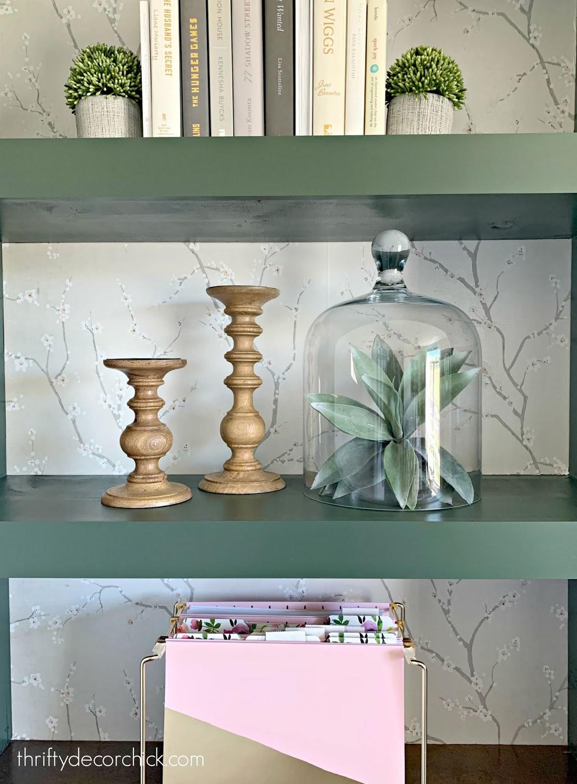 Easy decor -- faux plants under glass