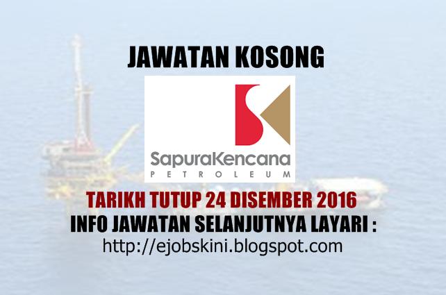 Jawatan Kosong Sapura Kencana Drilling Tioman Sdn Bhd Disember 2016