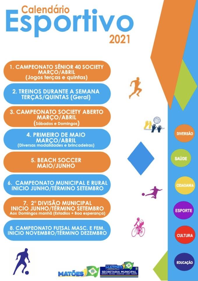 Matões: Secretaria Municipal de Esporte lança calendário esportivo 2021