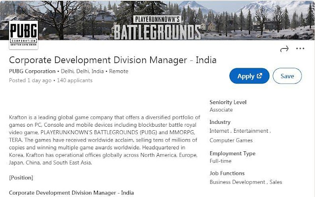 PUBG Mobile drops major hint about relaunch in India with LinkdIn job posting