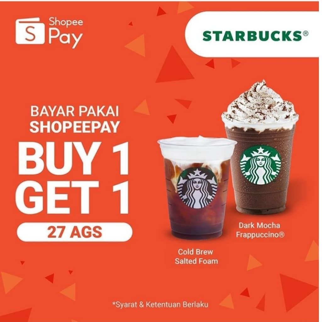 Promo Starbucks Buy 1 Get 1 Bayar Pakai ShopeePay