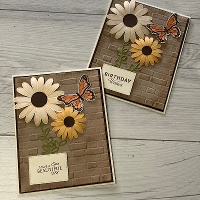 Daisy Lane card with Brick & Mortar 3D Embossing folder Background
