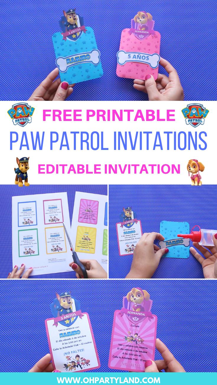 Paw Patrol Birthday Invitation Oh Partyland