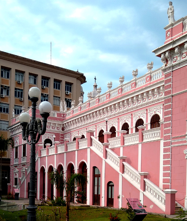 A pink palace with many windows.