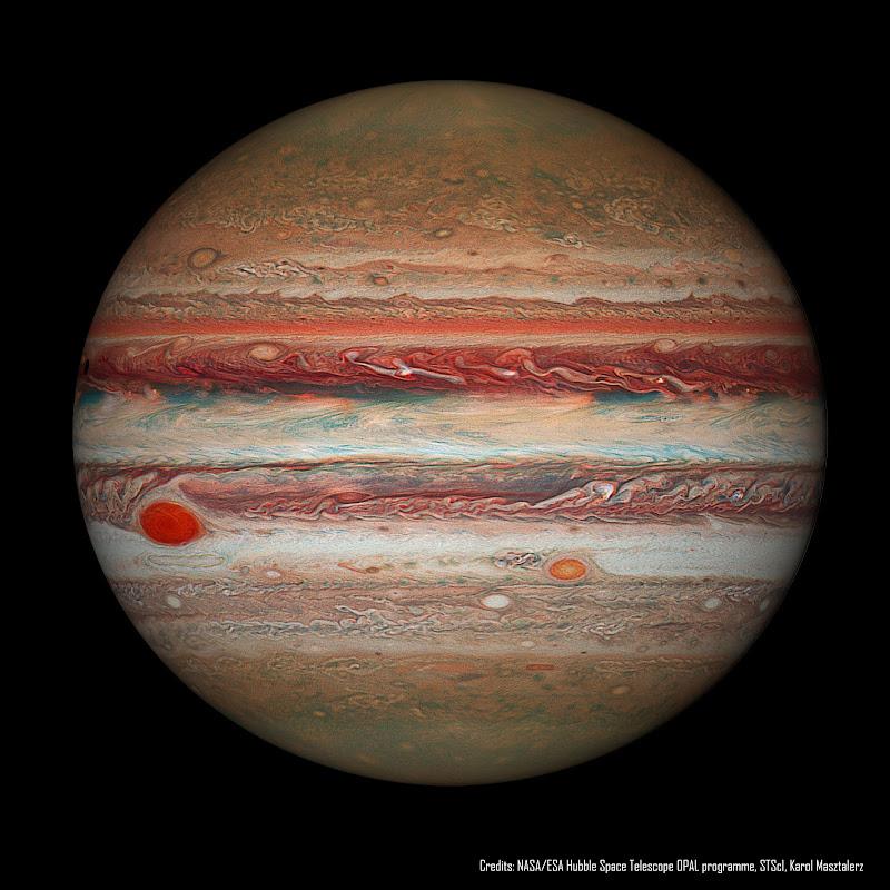 Sao Mộc và sự thu hẹp của Vết Đỏ Lớn chụp bởi Kính Hubble. Hình ảnh: NASA, ESA, Hubble, OPAL Program, STScI; Xử lý hậu kỳ: Karol Masztalerz.